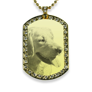 Gold Plate Wide Portrait Diamante Pet Keepsake