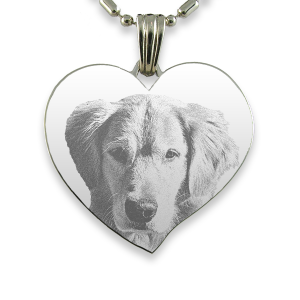 Titanium Plate Large Curved Heart Dog Keepsake