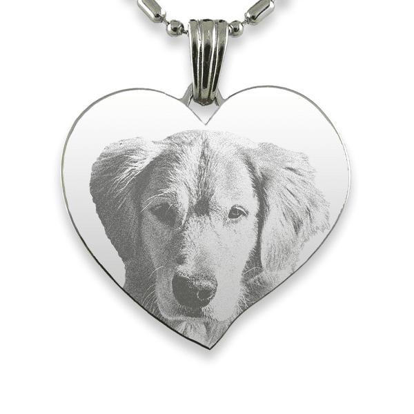 Titanium Plate Large Curved Heart Dog Keepsake
