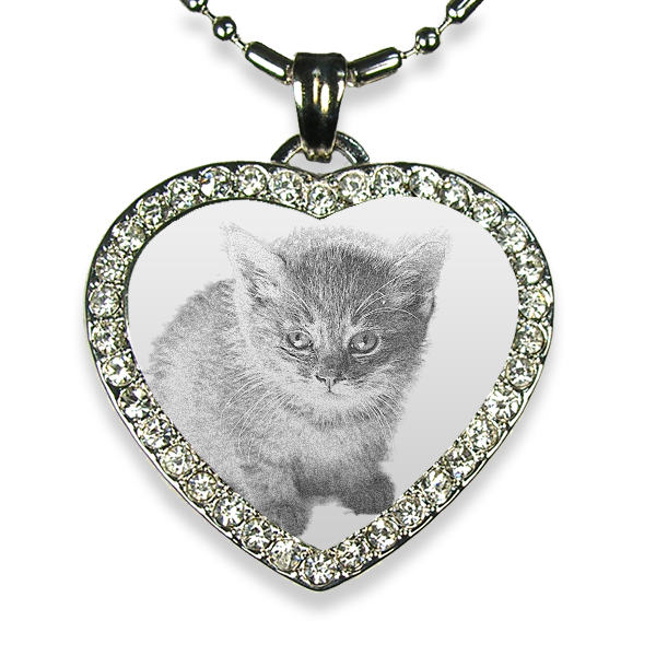 Rhodium Plate Medium Heart Diamante Cat Keepsake