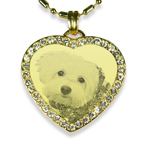 Gold Plate Medium Heart Diamante Dog Keepsake