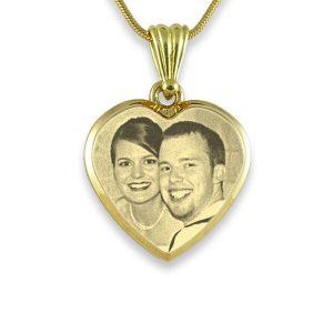 Gold Plate Deluxe Bevelled Medium Heart Photo Pendant