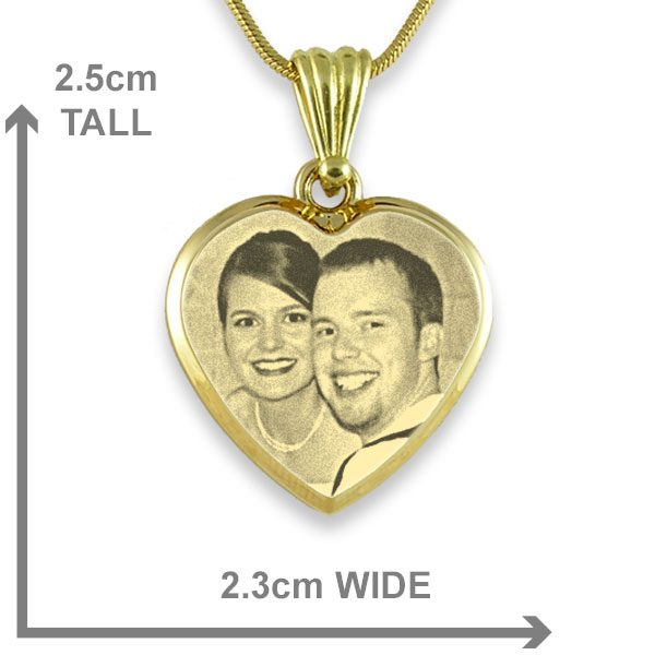 Gold Plate Deluxe Bevelled Medium Heart Photo Pendant Gold Plate Deluxe Bevelled Medium Heart Photo Pendant
