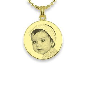 Small Round Gold Plated Photo Pendant