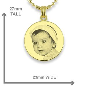 Small Gold Plated Round Photo Pendant Dimensions