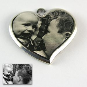 Rhodium Deluxe Bevelled Curved Heart Photo Pendant