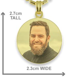 Gold Plate Medium Round Colour Photo Pendant