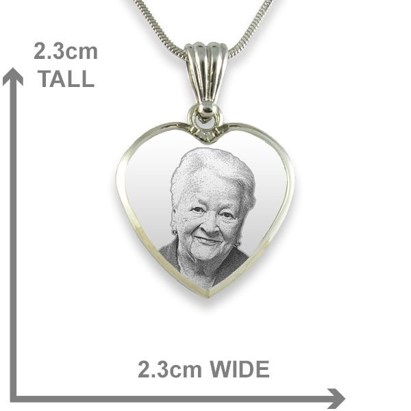 925 Silver Deluxe Bevelled Heart Photo Pendant Dimensions