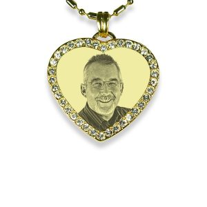 Gold Plated 925 Silver Small Diamante Heart Photo Pendant