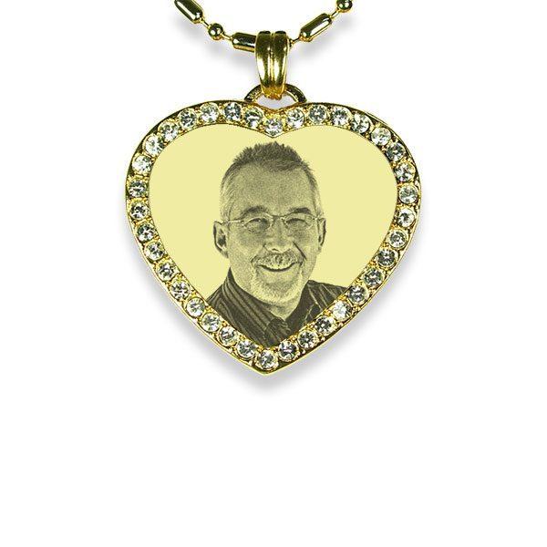 Gold Plated 925 Silver Small Diamante Heart Photo Pendant