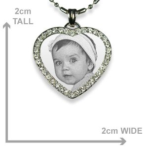 Small 925 Silver Diamante Heart Dimensions