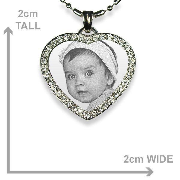 Small 925 Silver Diamante Heart Dimensions