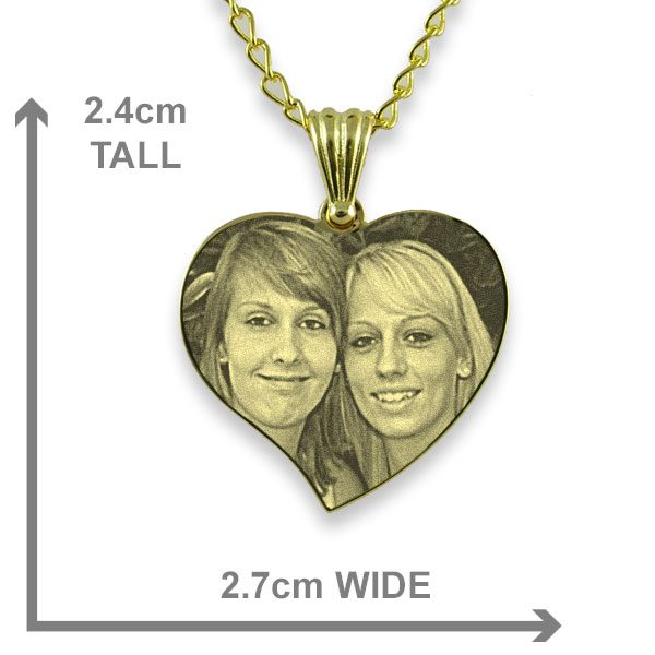 Gold Plate 925 Silver Medium Curved Heart Photo Pendant - Dimensions