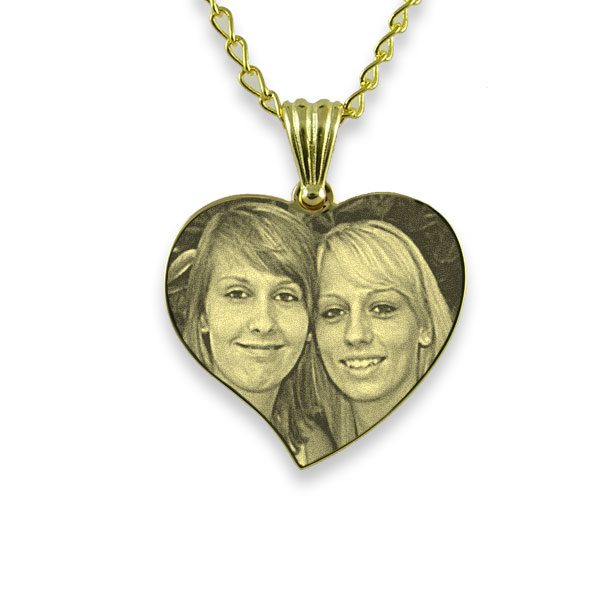 Gold Plate 925 Silver Medium Curved Heart Photo Pendant
