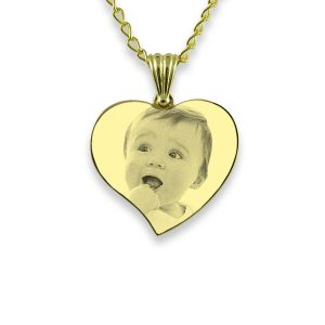 Gold Plate 925 Silver Small Curved Heart Photo Pendant