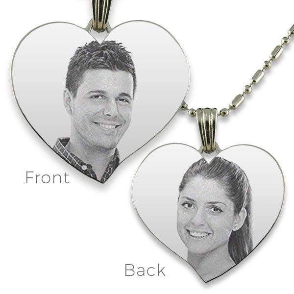 Double Sided Large Curved Heart Photo Pendant