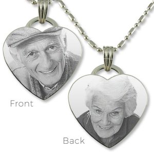 Double Sided Steel Drop Heart Photo Pendant