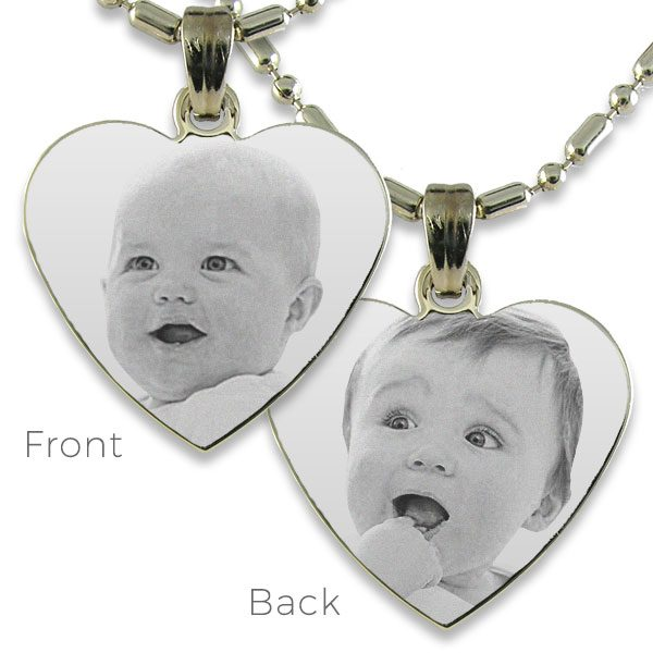 Double Sided Medium Curved Heart Photo Pendant