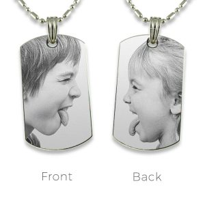 Small ID-Tag Double Sided Photo Pendant