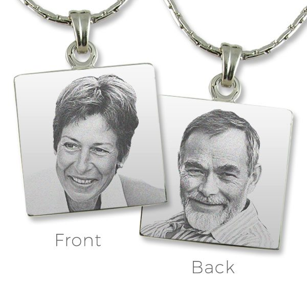 Double Sided Photo Engraved Steel Pendants
