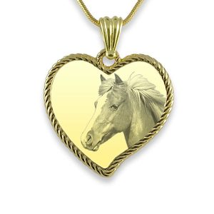 Gold PLate Large Rope Edged Curved Heart Horse Photo Keepsake