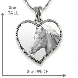Medium Curved Rope Heart Photo Pendant