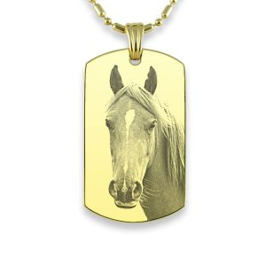 Gold Plate Large Id Tag Horse Photo Pendant