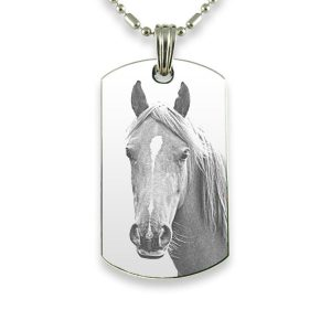 Rhodium Plate Large Id Tag Horse Photo Pendant