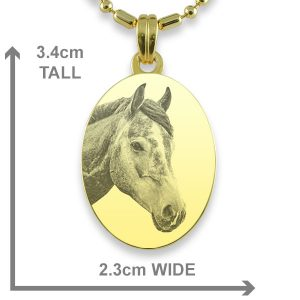 Gold Plate Medium Oval Horse Photo Pendant