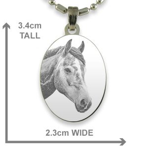 Rhodium Plate Medium Oval Horse Photo Pendant