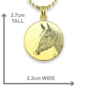 Gold Plate Small Round Horse Photo Pendant