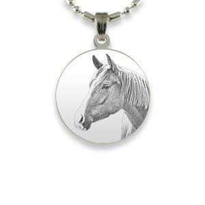 Small Round Rhodium Horse Photo Pendant