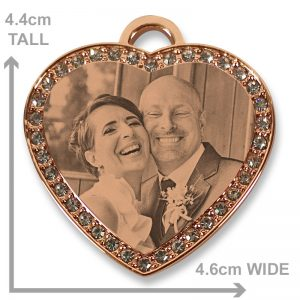 Rose Gold Diamante Heart Photo Pendant - Bride and Groom