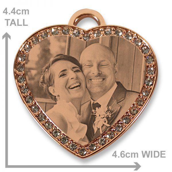 Rose Gold Diamante Heart Photo Pendant - Bride and Groom