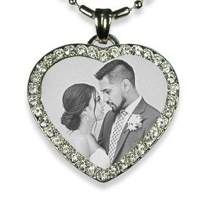 Diamante Photo Pendant of the Wedding Couple