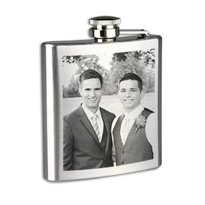 Best Man Photo Engraved Flask