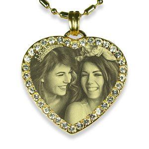 Brides Maid Gold Plate Medium Heart Diamante Photo Pendant