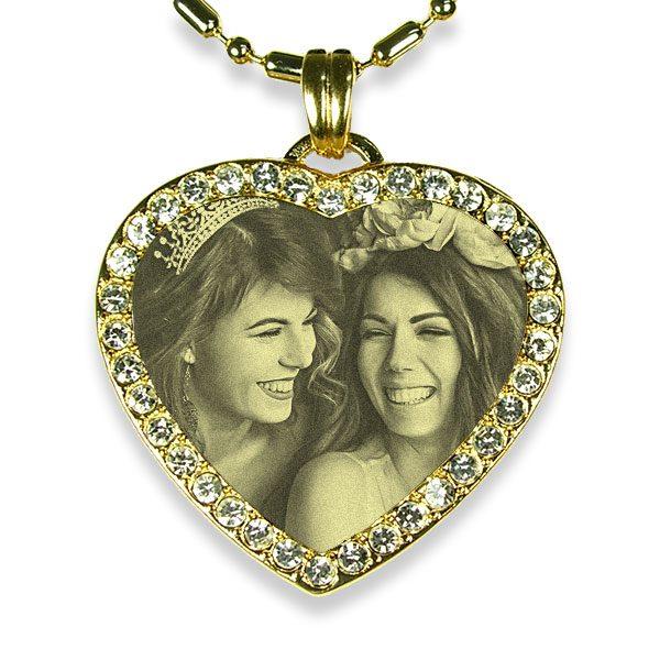 Brides Maid Gold Plate Medium Heart Diamante Photo Pendant