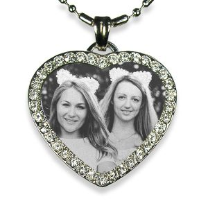 Brides Maid's Rhodium Plate Medium Heart Diamante Photo Pendant