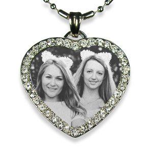 Brides Maid's Rhodium Plate Medium Heart Diamante Photo Pendant