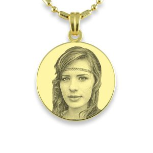 Round Brides Maid Gold Round Photo Pendant