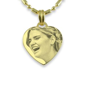 Brides Maid Small Gold Heart Photo Pendant