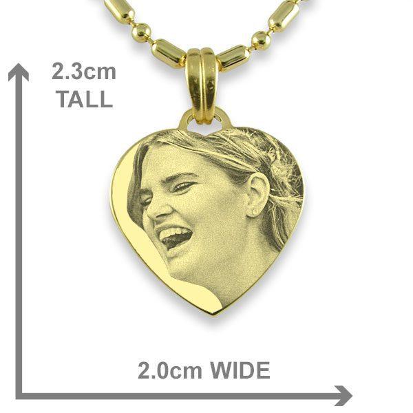 Brides Maid Small Gold Heart Photo Pendant Dimensions