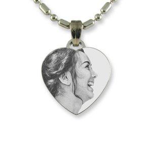 Brides Maids Small Rhodium Heart Photo Pendant