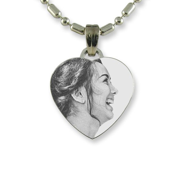 Brides Maids Small Rhodium Heart Photo Pendant