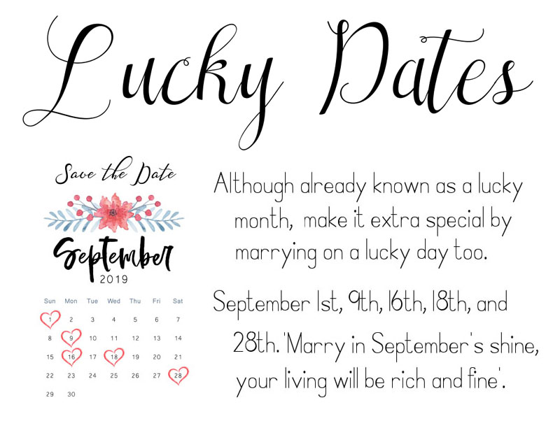 September Wedding Anniversary Engagement Month Save the Date Lucky