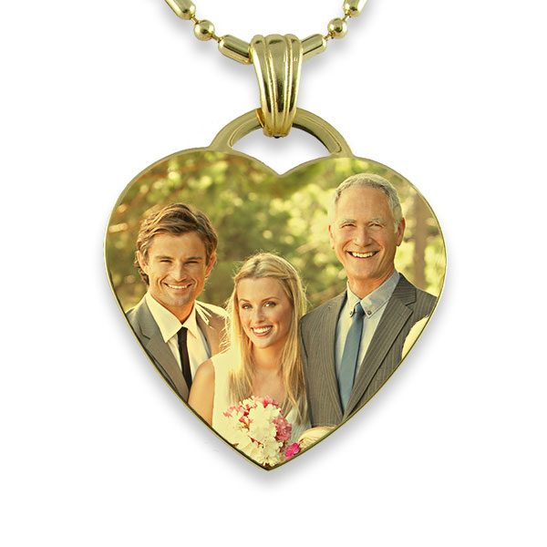 Gold Plate Large Heart – Colour Photo Wedding Keepsake