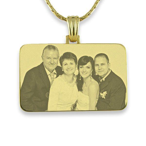 Gold Plate Family Wedding Keepsake Photo Pendant