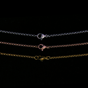 Stainless Steel, Rose Gold and Gold Plated Round Link Chain