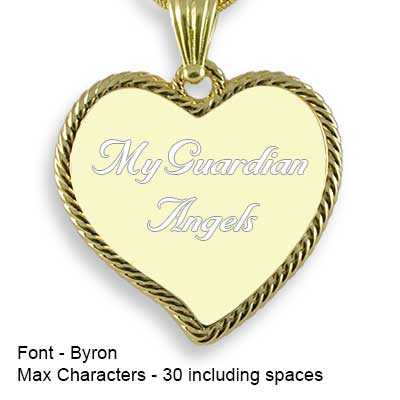 Engravable Back of Gold Plated Medium Rope Edged Curved Heart Photo Pendant